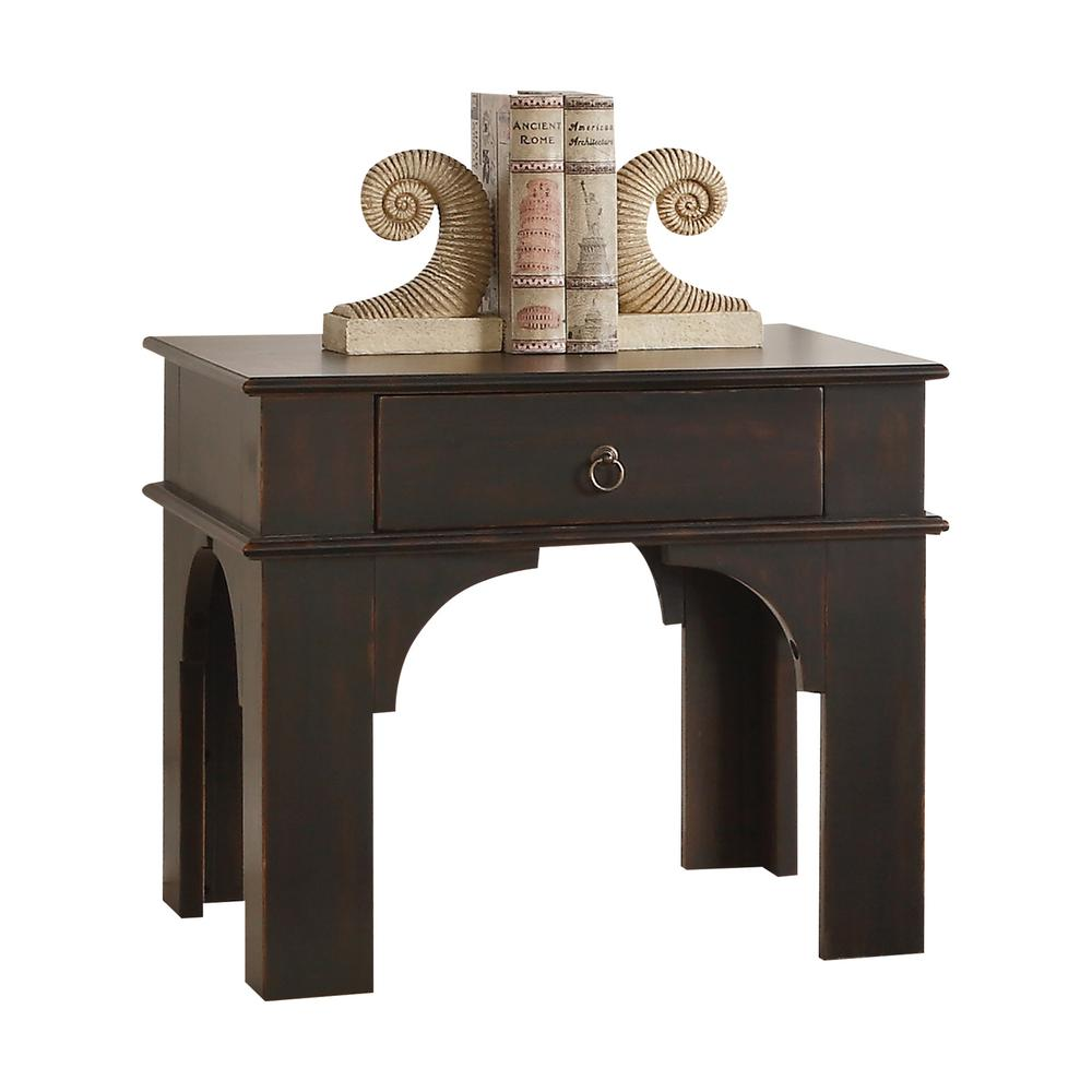 acme furniture elvira antique espresso end table the tables ethan allen country french small folding patio fire with chairs magnolia home furnishings retailers sofa cabinet