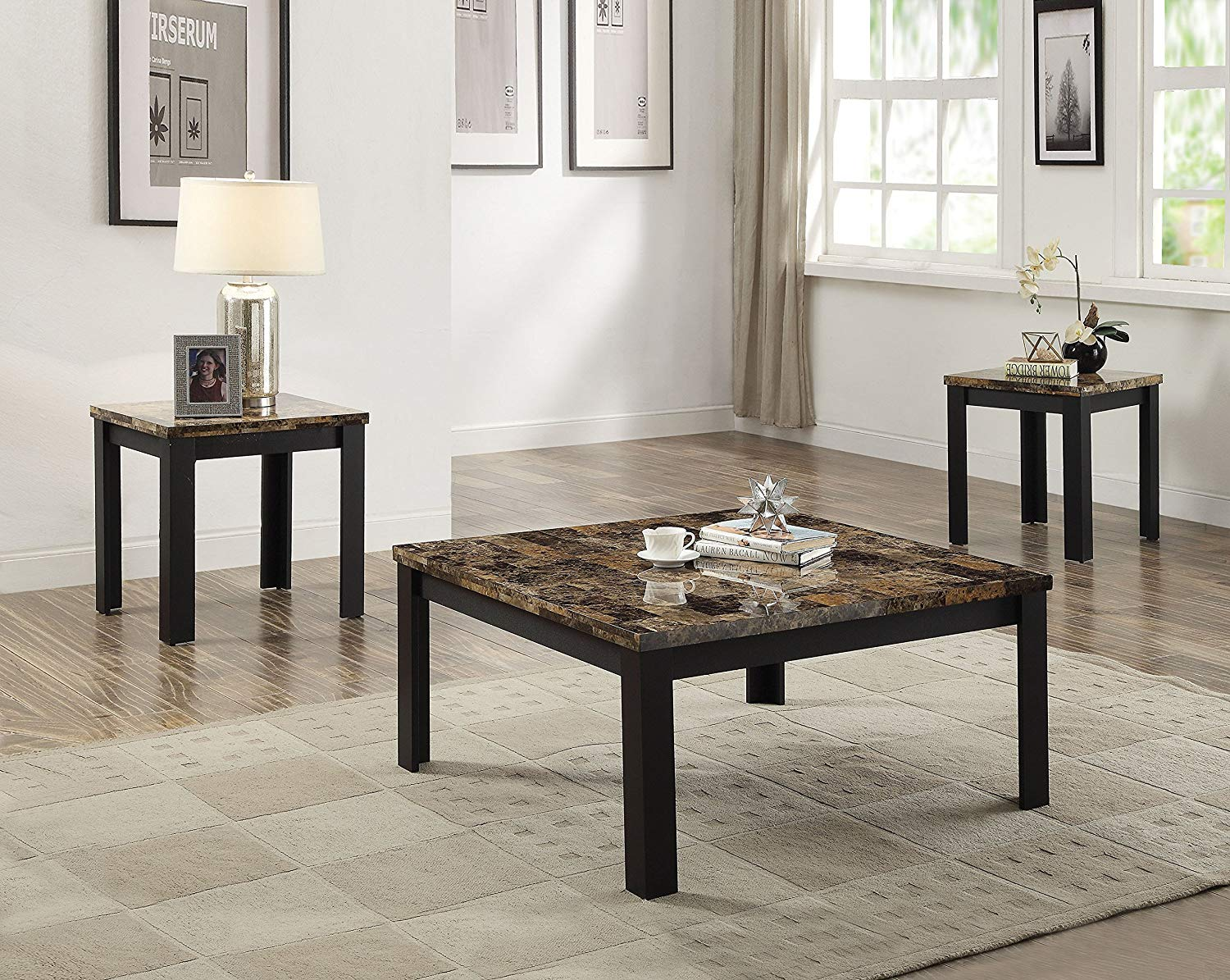 acme furniture finely piece coffee and end table set ijel dark brown tables black kitchen dining scalloped wall shelf mirror bedroom toronto ethan allen signature firm mattress