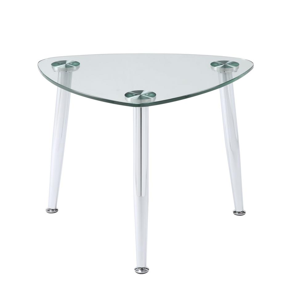 acme furniture phlox chrome and clear glass end table the tables west elm toronto corner nest kmart kids swing set ethan allen country french dining room nightstand maple small