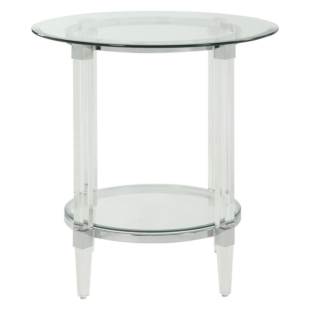 acme furniture polyanthus clear acrylic chrome and glass end tables table corner nest futura leather west elm toronto small narrow console sofa set black bedside mirrors gray