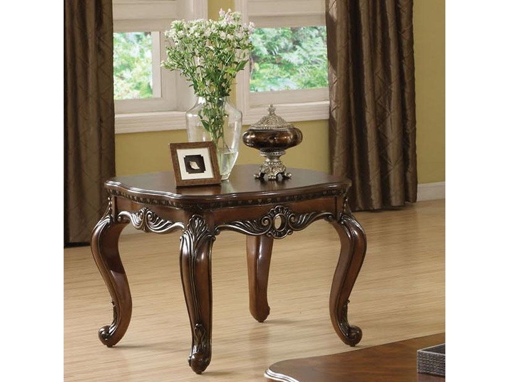 acme furniture remington traditional brown cherry end table dream products color small lamp with drawer high dog crates royal main street quality lazy boy dining used sauder big