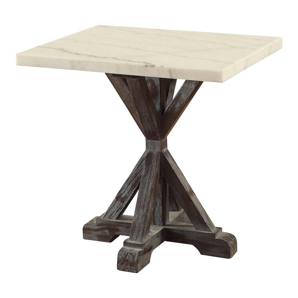 acme furniture romina white marble and weathered espresso end table tables the vendome living room oak york bronze metal glass coffee three piece who sells sauder console inch