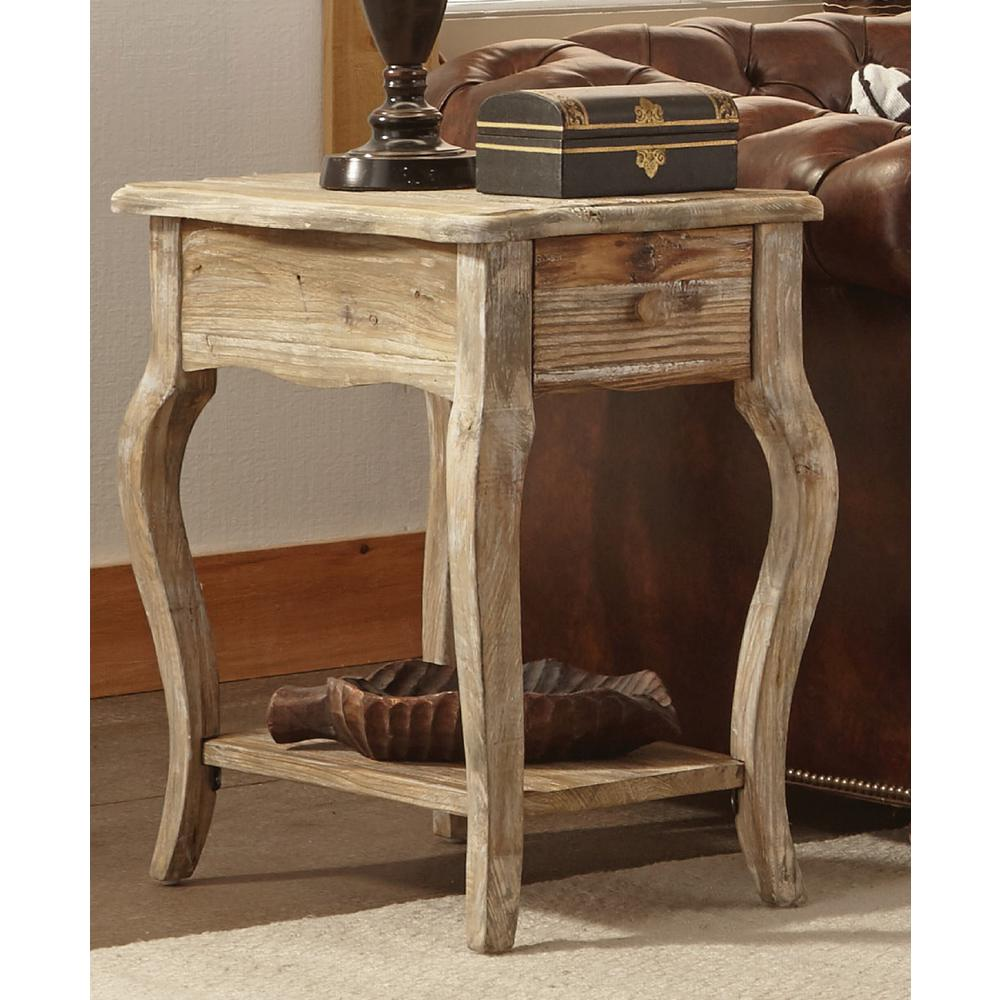alaterre furniture rustic driftwood storage end table the tables contemporary style riverside sierra round coffee kmart outdoor patio bar designer nightstands unfinished mirrors