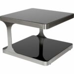 allan copley designs diego square end table black glass top tables shelf brushed stainless steel dark wood accent whalen brown dining set hunter furniture modern orange small 150x150