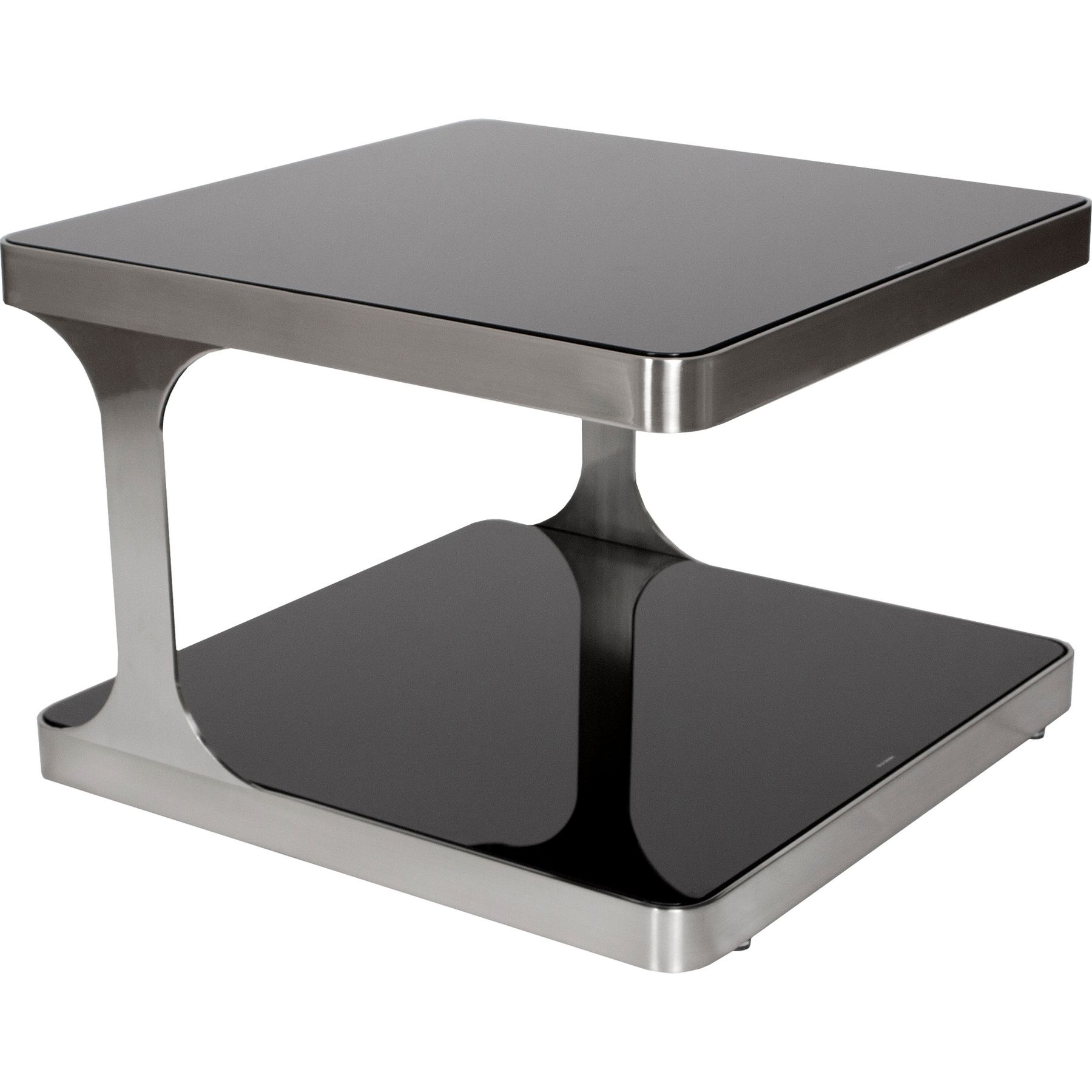 allan copley designs diego square end table black glass top tables shelf brushed stainless steel dark wood accent whalen brown dining set hunter furniture modern orange small