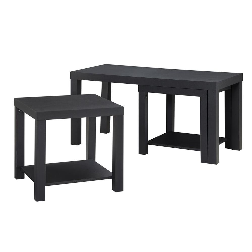 ameriwood home simpson black coffee table and end set piece tables altra oak sofa console distressed paint effects wood furniture nightstands under dark garden glass tall with