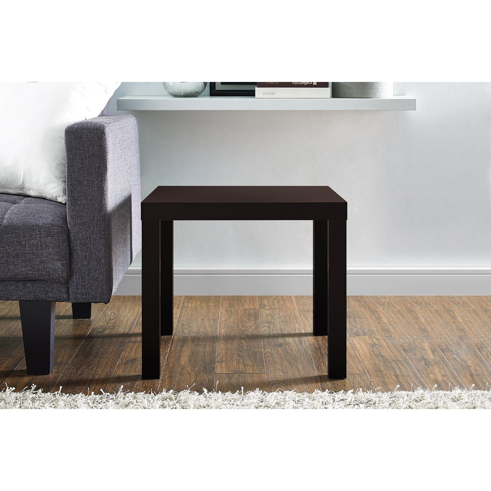 ameriwood industries dhp parsons end table products modern black wood grain barnwood plans square mission coffee toy box kmart ethan allen furniture houston offers chennai acme