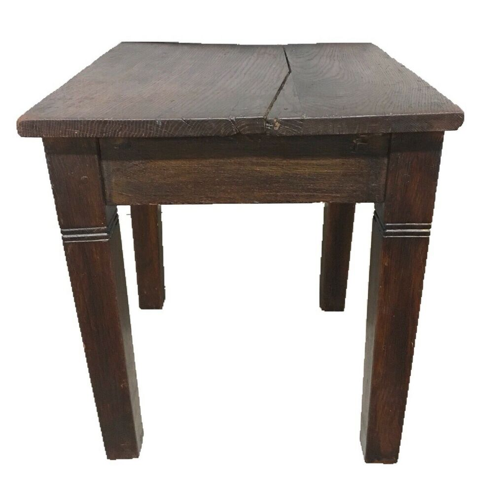 antique english oak primitive end table side accent late tables and coffee details about cent laura ashley bedroom wallpaper kmart outdoor teal lamp urbanology furniture ethan