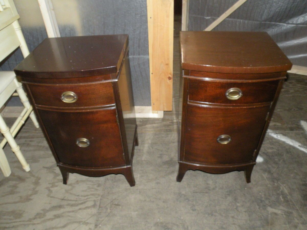 antique furniture pair mahogany bedroom nightstands end tables pipe leg table coffee glass target accent centre for drawing room modern design white side decorative wooden dog