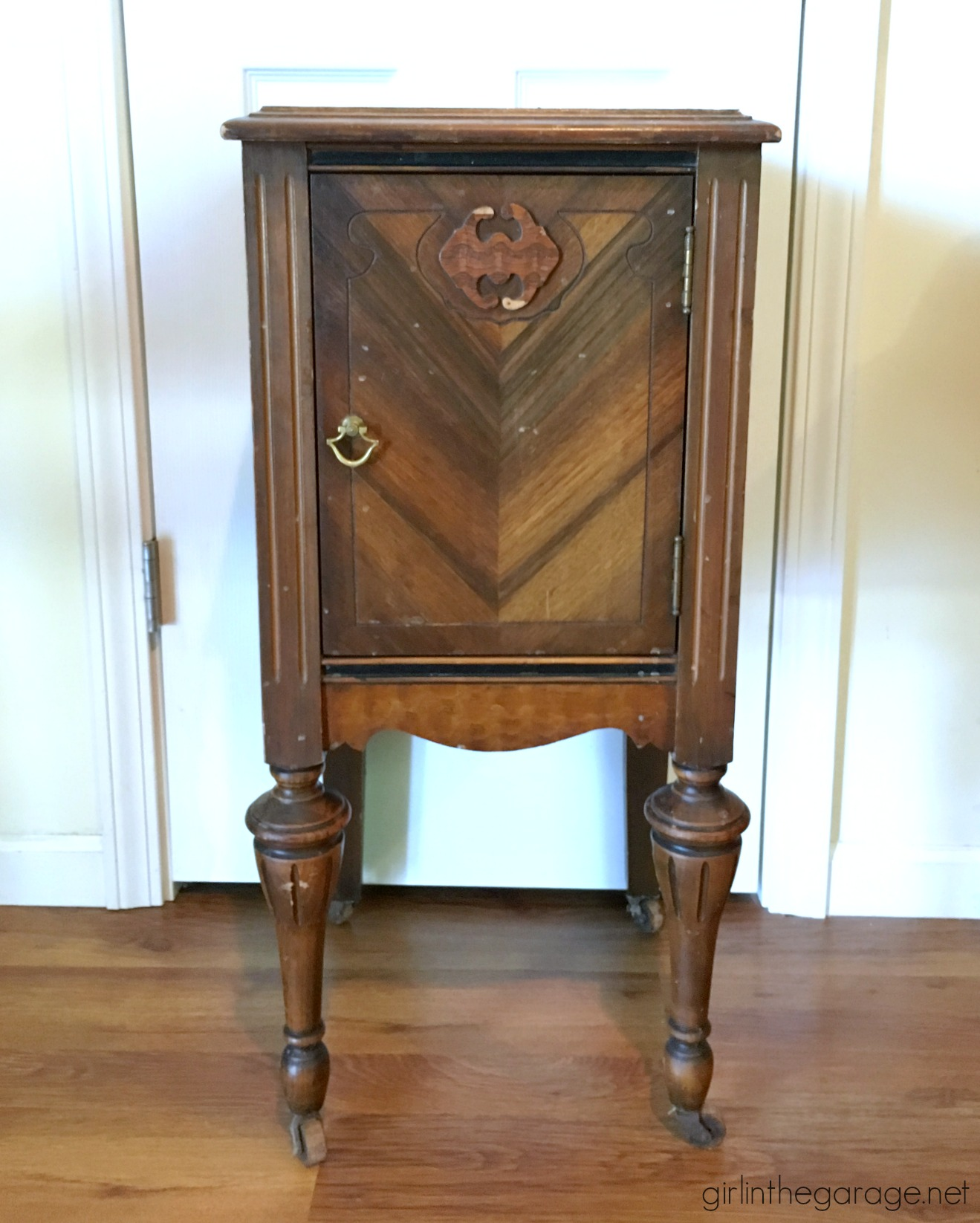 antique nightstand makeover with damaged veneer girl the garage img before bedroom end tables table coffee glass oval dark wood creative dog beds best paint for wooden chairs diy