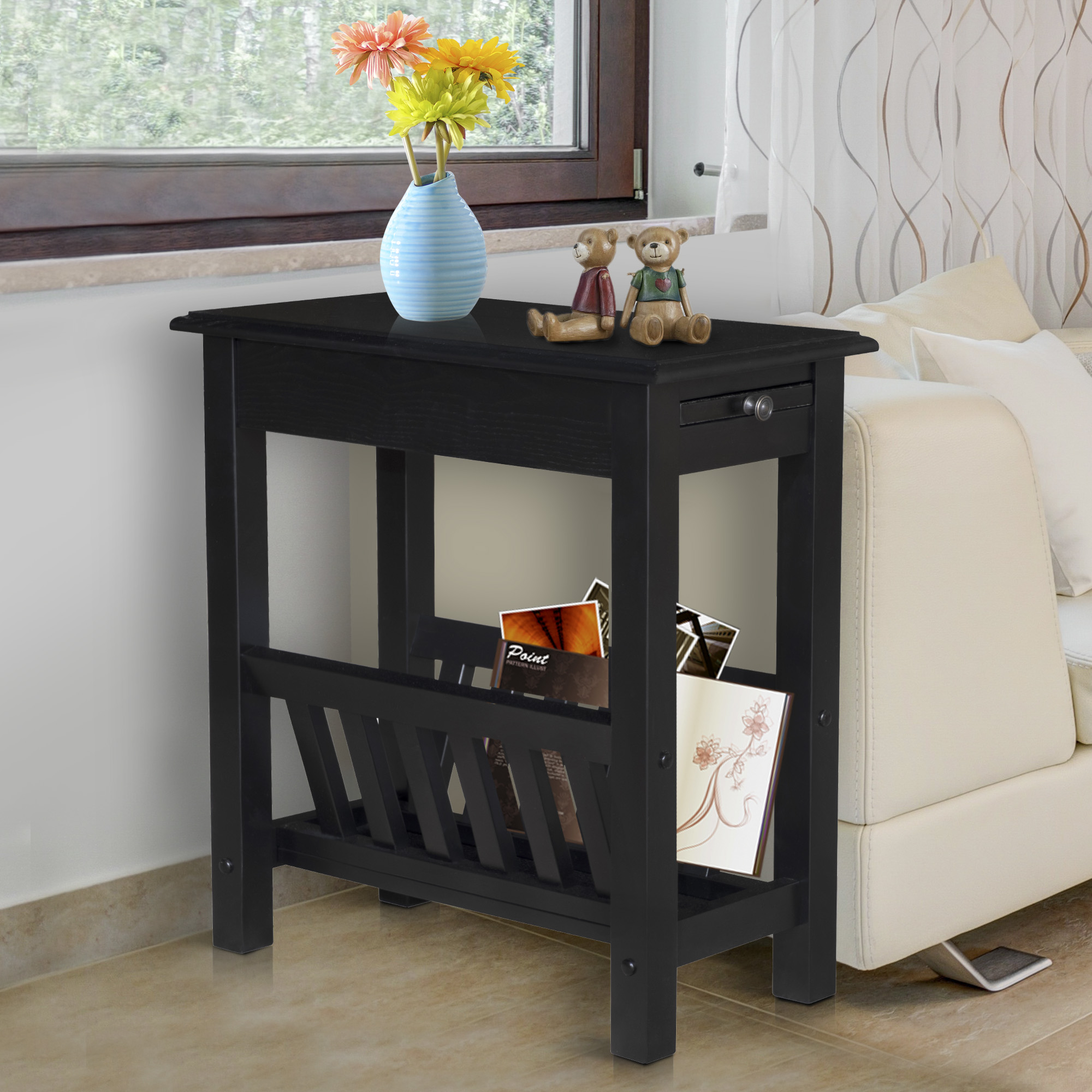 aosom homcom modern tier acacia wood end table side desk with cup holder and lower chocolate brown couch decorating ideas small metal accent ashley furniture industries kitchen
