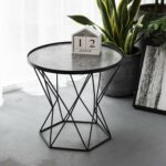 art leon small round end table modern glass top with coffee tables metal frame side for living room bedroom deck patio garden kitchen white black inch offers laura ashley 150x150