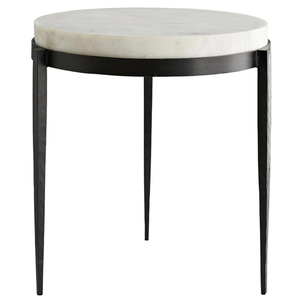 arteriors kelsie modern classic round white marble black iron side product end table kathy kuo home stickley desk value glass folding accent patio gloss leather sofa styles used