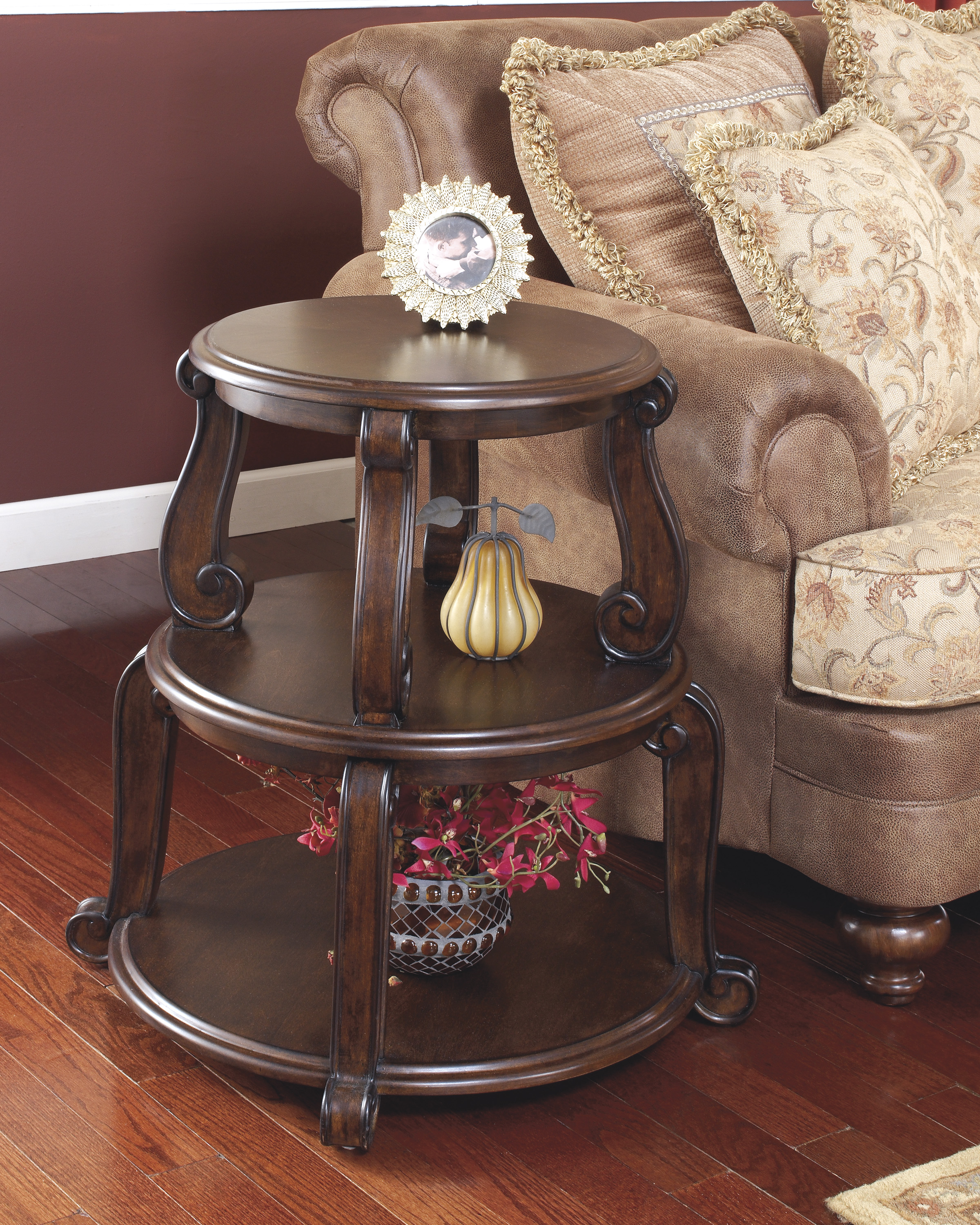 ashley brookfield round end table charma english acme espresso inch patio kmart indoor outdoor rugs best coffee tables log style kitchen magnolia farms decor wood nightstand