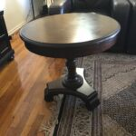 ashley brookfield round end table dark brown details about hours easter sunday what paint color goes with sofa black contemporary tables tall accent furniture factory ethan allen 150x150