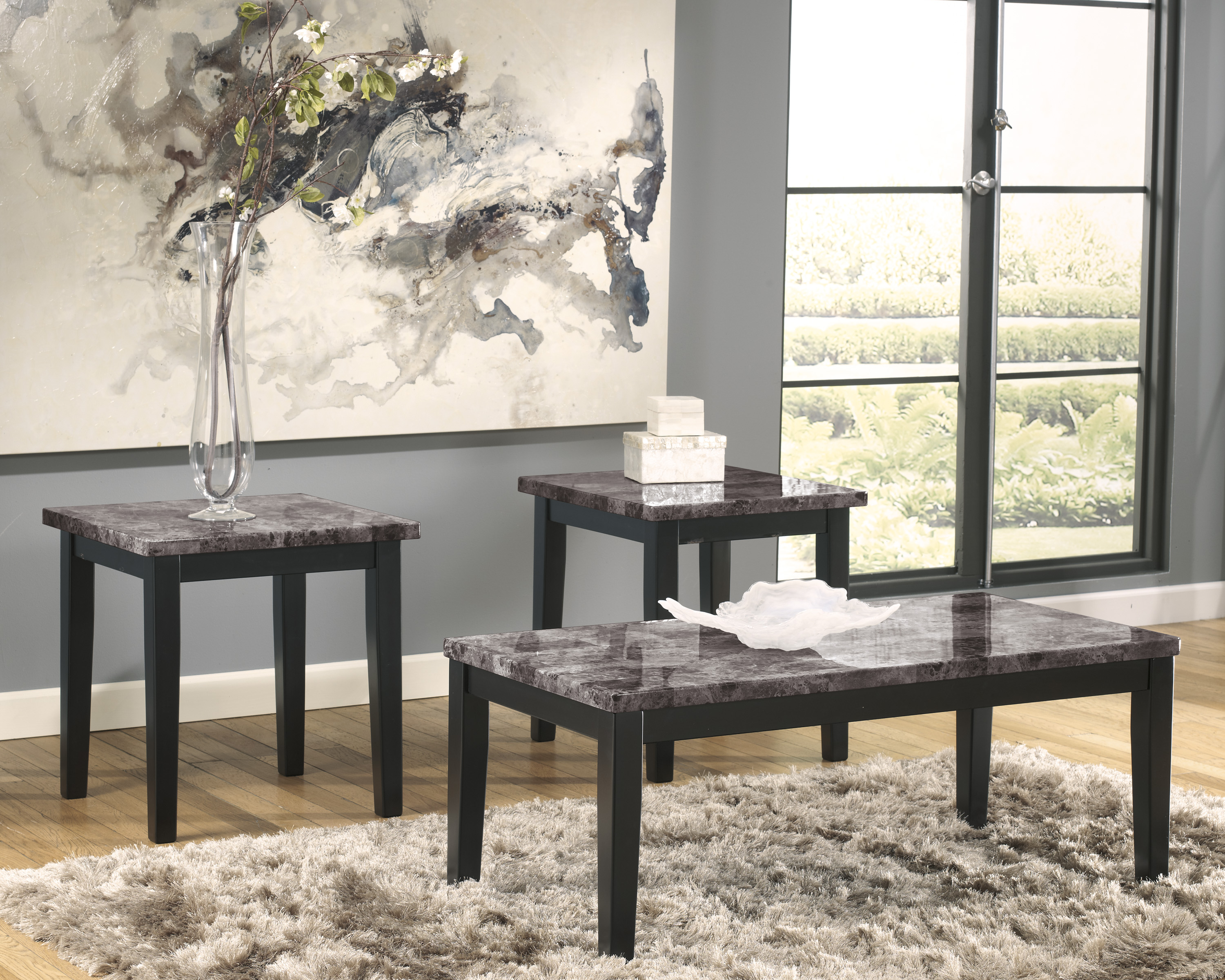 ashley faux marble coffee table stone restoration blog products north shore marbie tabie set ashi end tables and bayside furnishings piece black sets ethan allen classic manor