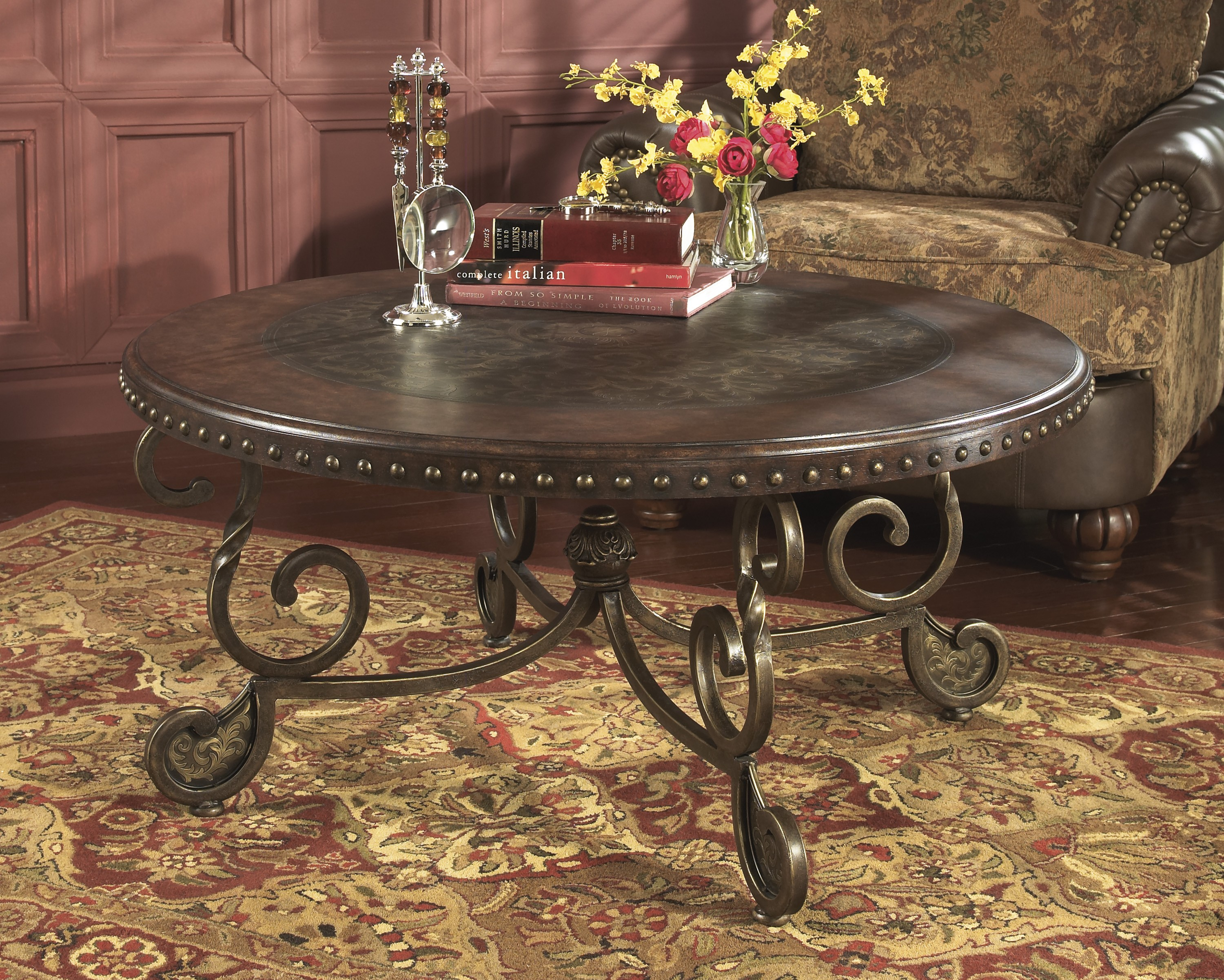 ashley furniture rafferty round cocktail table dark brown end tables coffee folding sizes iron accents thomasville good universal curated collection outside high top ethan allen