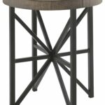 ashley furniture signature design cazentine distressed round end table contemporary rustic top grayish brown black kitchen dining homesense wicker baskets lamp sectional seating 150x150