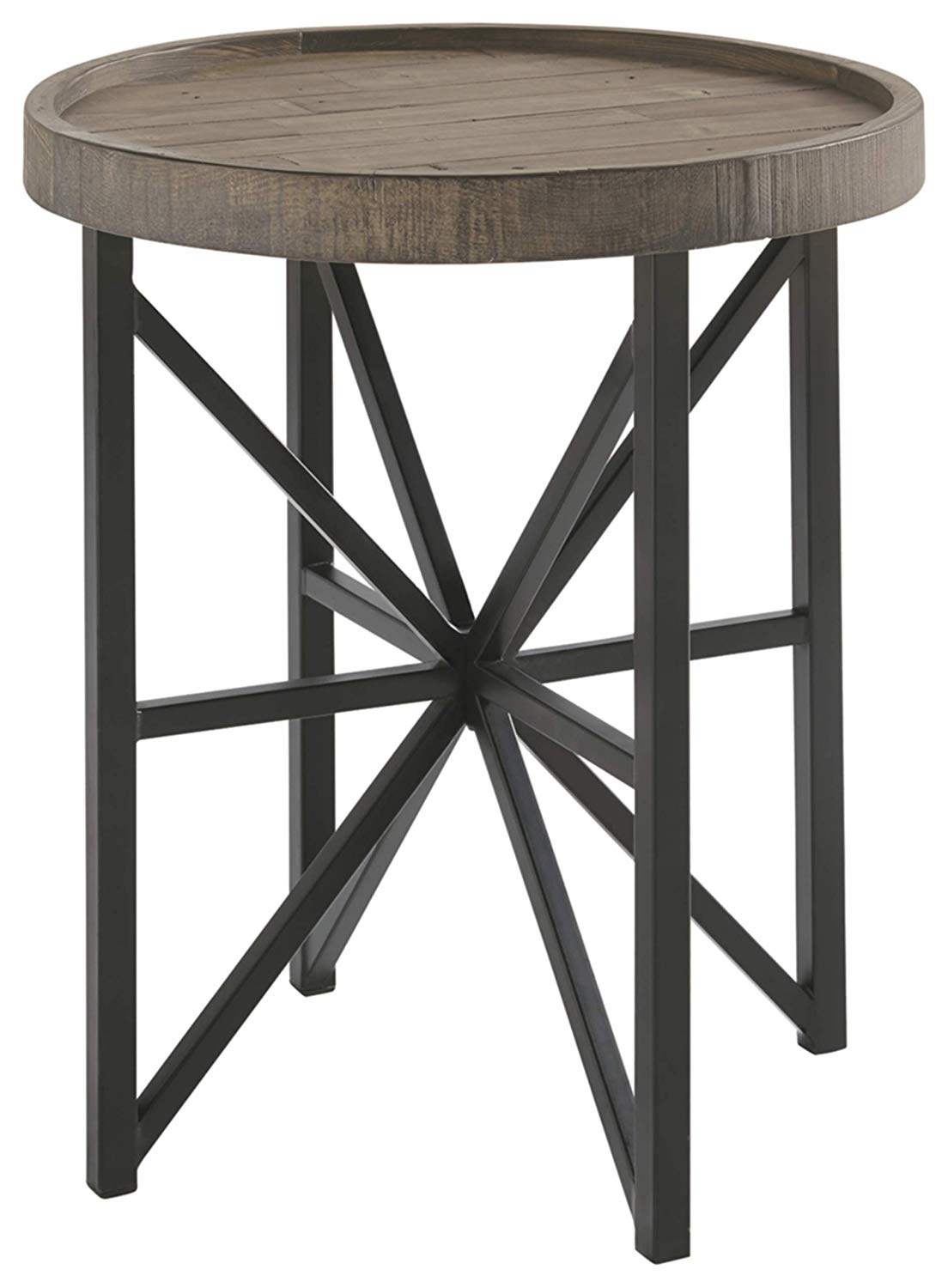 ashley furniture signature design cazentine distressed round end table contemporary rustic top grayish brown black kitchen dining homesense wicker baskets lamp sectional seating