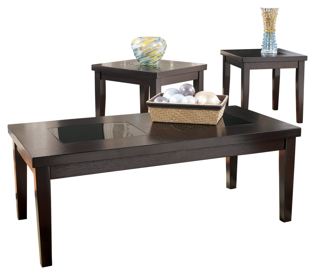 ashley furniture signature design denja occasional end tables and coffee table set contains cocktail contemporary dark brown kitchen white farmhouse console who cuts glass for