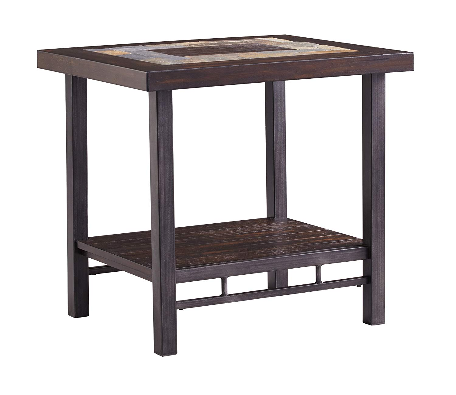 ashley furniture signature design gallivan casual two tone rectangular end table multicolored slate tables metal with tile top unfinished wood built floor lamp modern style dining