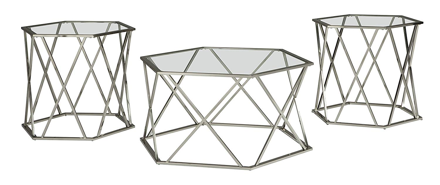 ashley furniture signature design madanere glass end tables contemporary piece table set includes cocktail two chrome finish kitchen very small oak side painting wood with spray