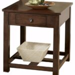 ashley furniture signature design marion rectangular dark brown wood end table drawer contemporary kitchen dining bookcase nightstand glass coffee black frame oak tables cherry 150x150