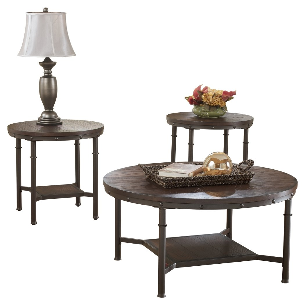 ashley furniture signature design sandling occasional end tables and coffee table set piece round rustic brown kitchen nice nightstands single mattress kmart toy coupon magnolia