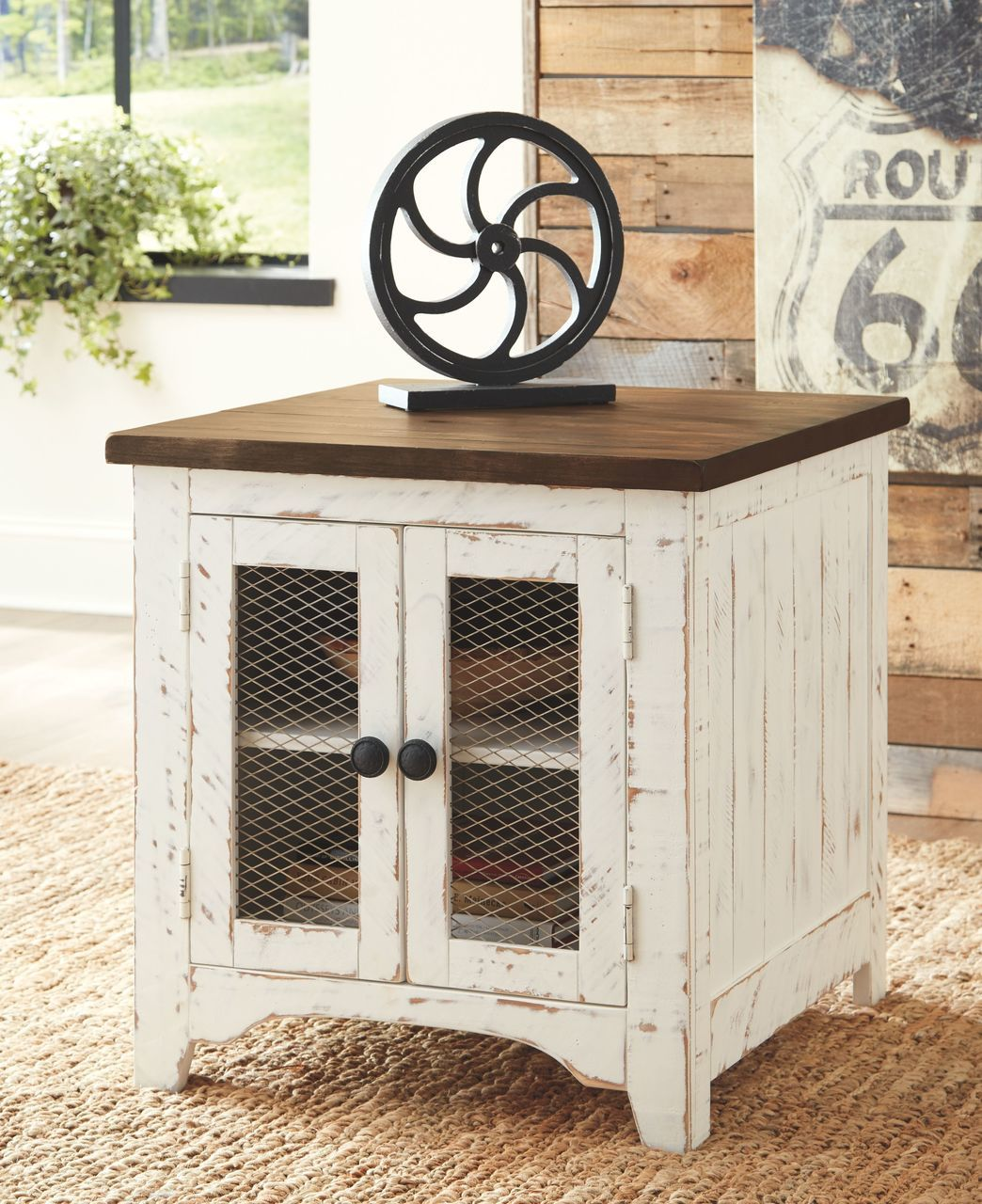 ashley wystfield white brown chair side end table wcc distressed tables small industrial galvanized pipe fittings for furniture nursery espresso leick inc oak tree stump coffee