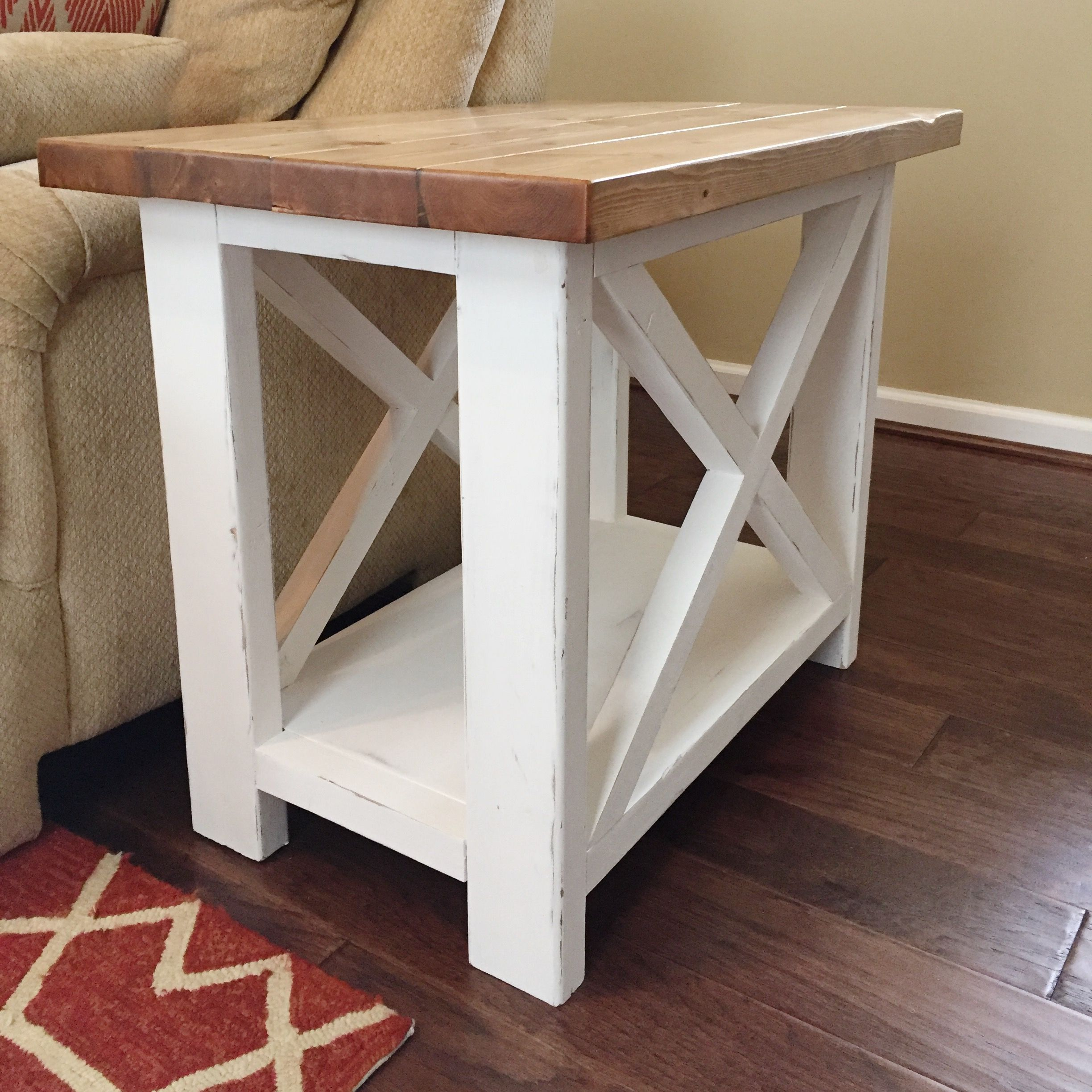 ashmore farmhouse end table base white distressed tables diy top special walnut red glass nest universal furniture blair cookie letter stamp cream and oak living room pallet