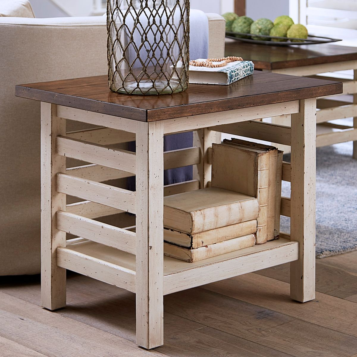 aspen home modern farmhouse end table with shelf cotton ctn tables sofa desk furniture sauder office storage cabinets rustic wood and glass coffee what pallet console width