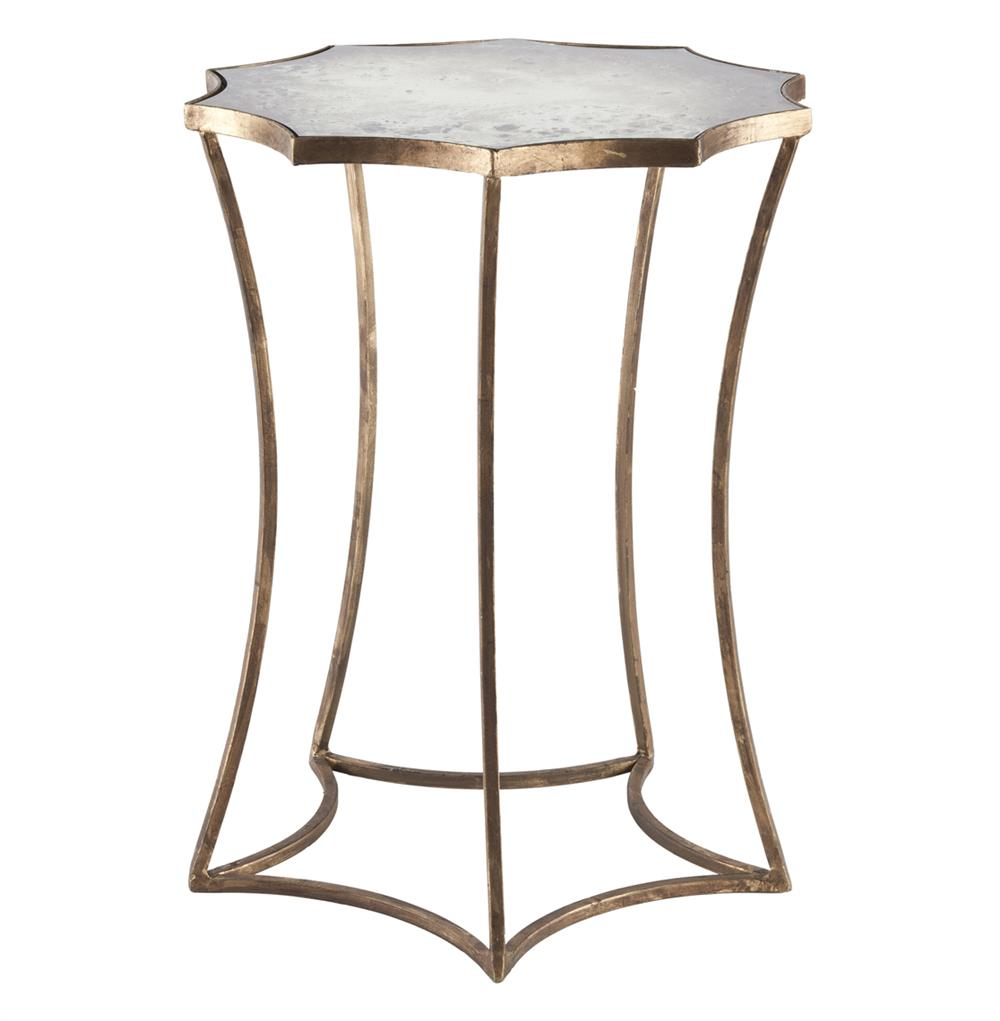 astre antique gold leaf star shaped mirrored side end table product kathy kuo home accent with shelf distressed foyer ashley furniture sectional mission style couch adirondack