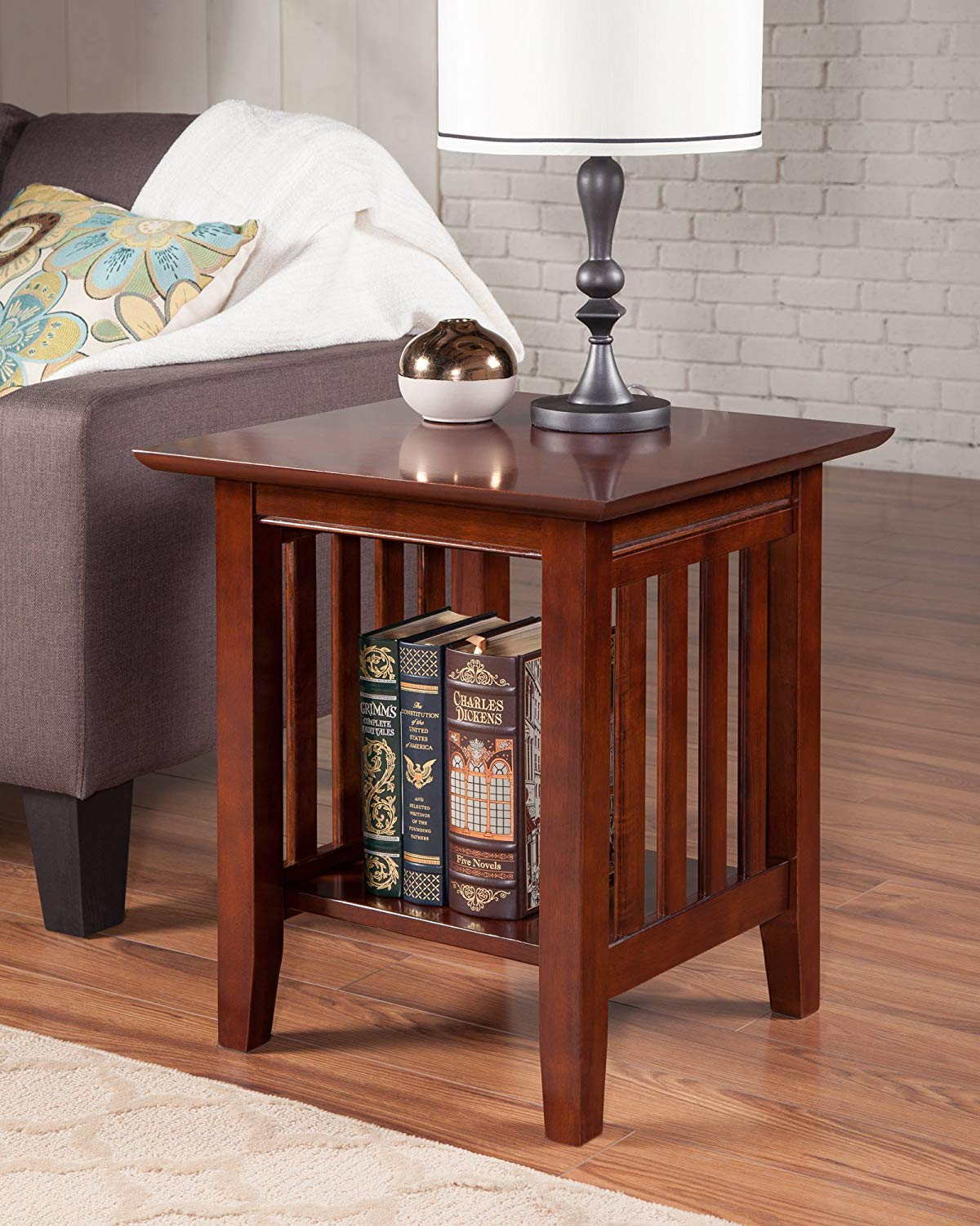 atlantic furniture mission end table rubberwood tables walnut kitchen dining pine log bar stools black perspex coffee unique ethan allen entryway round glass wood tall stand lamps