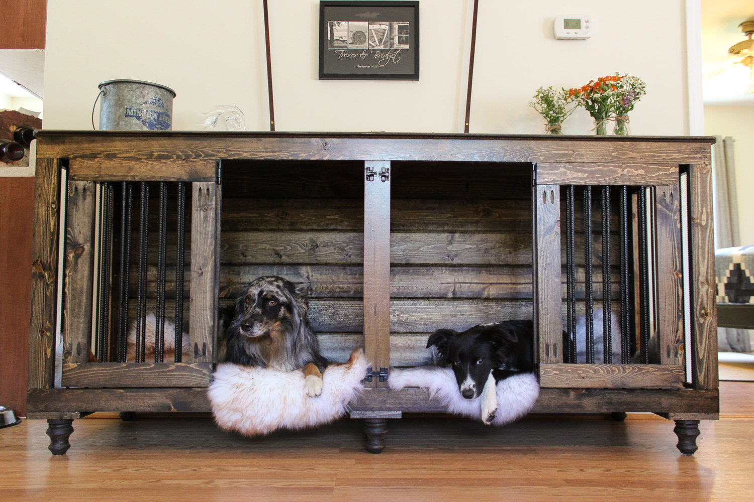 awesome dog crate that look like furniture the double doggie den indoor rustic kennel for two are can escape from indestructible grow with your end table open side change size