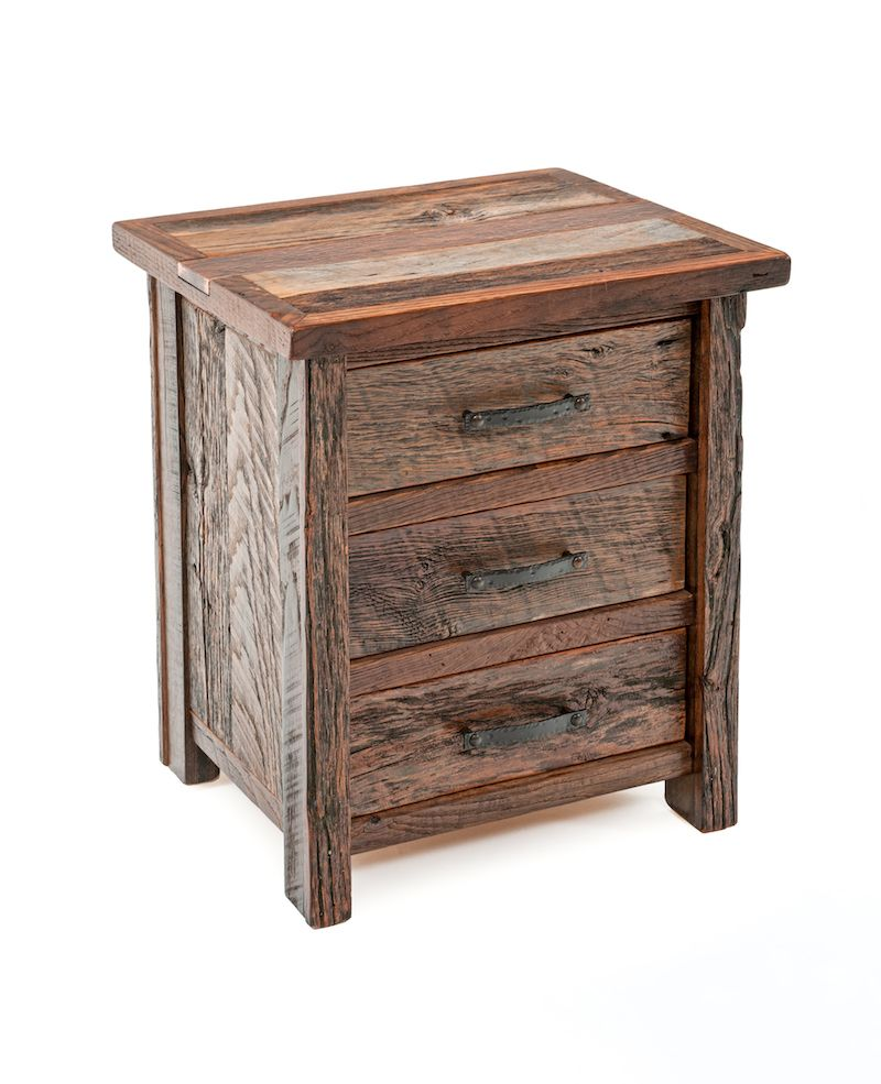 barnwood end tables nightstands rustic bedroom furnishings woodland creek furniture stone accent french decor brown glass coffee table ashley green bay broyhill square metal wire