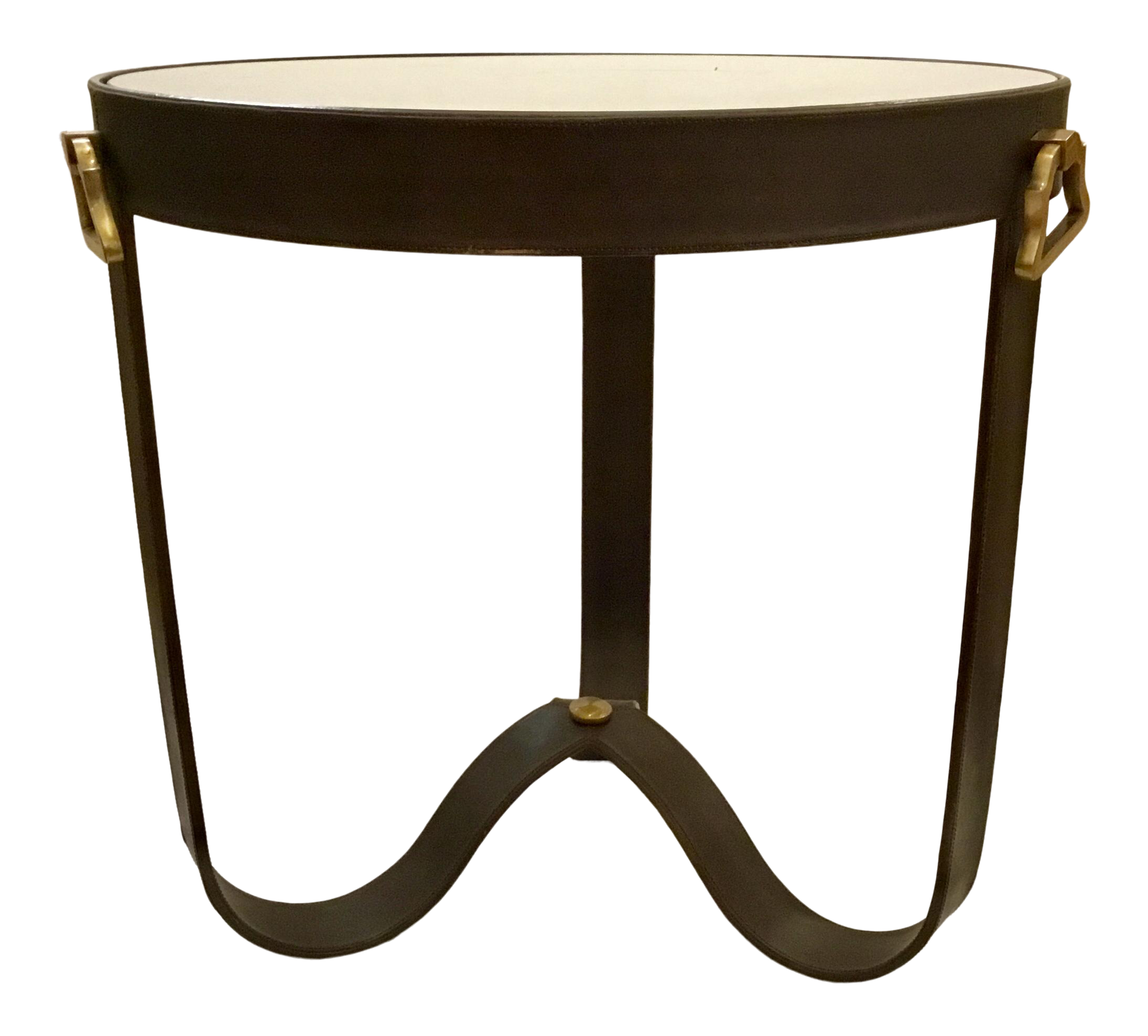 barry dixon for arteriors modern brown leather stirup end table tables chairish round glass cover grey and coffee royal furniture girl homesense coat rack row quality top side