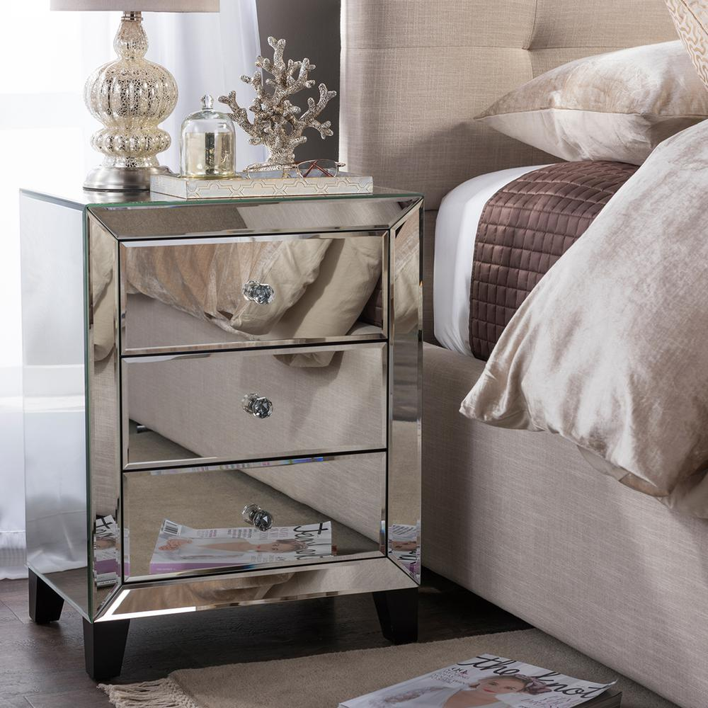 baxton studio chevron drawer silver mirrored nightstand nightstands bedroom end tables the discontinued stanley furniture broyhill chairs rustic coffee table casters unfinished