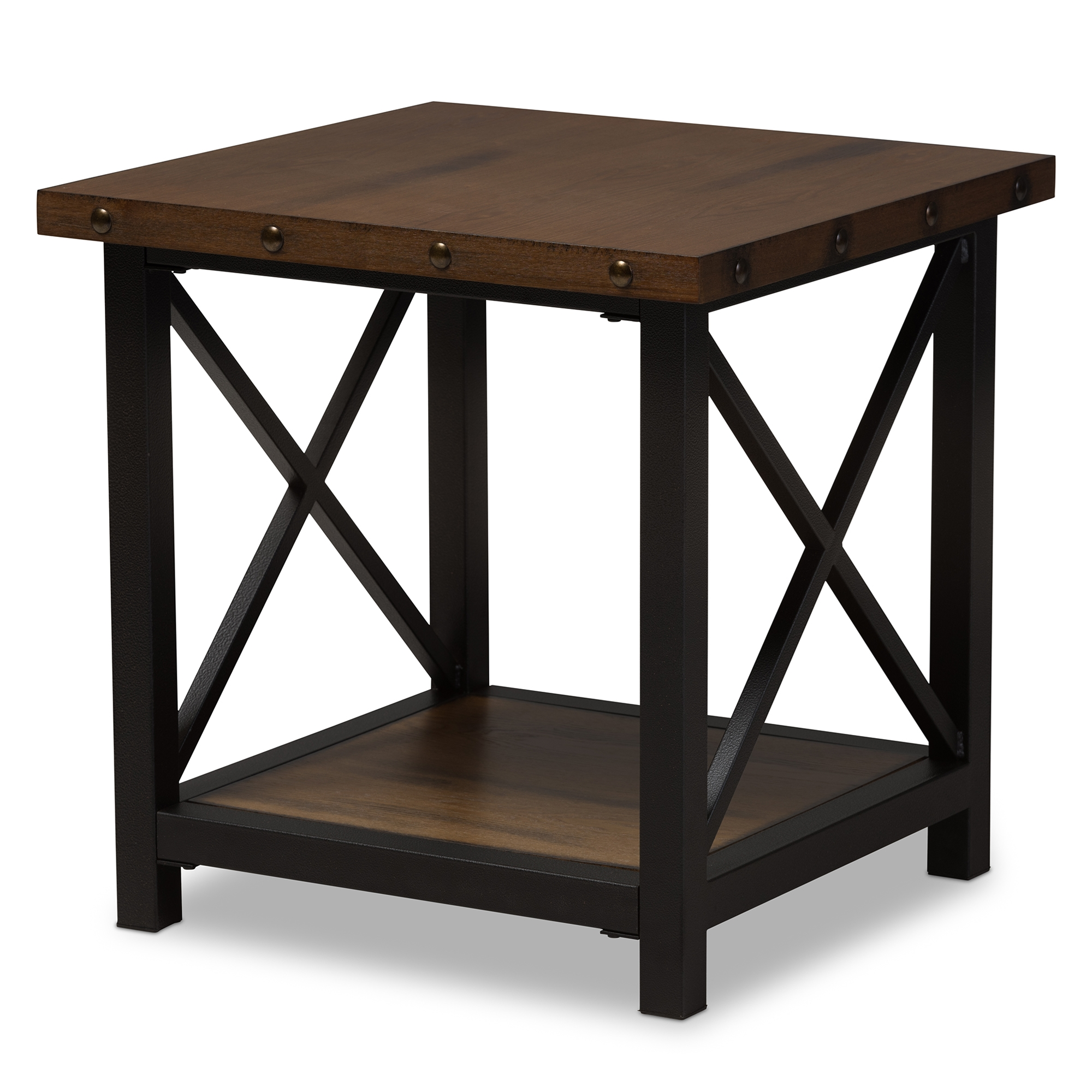 baxton studio herzen rustic industrial style antique black textured and wood end table finished metal distressed occasional round dining with glass top powell beds vintage bamboo