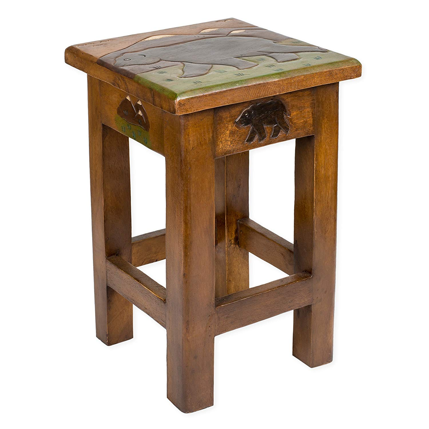 bear carved acacia hardwood inch end table kitchen black tables dining lounge cushions diy dog furniture vintage stickley antigo chair unfinished wood side miami dolphins magnolia