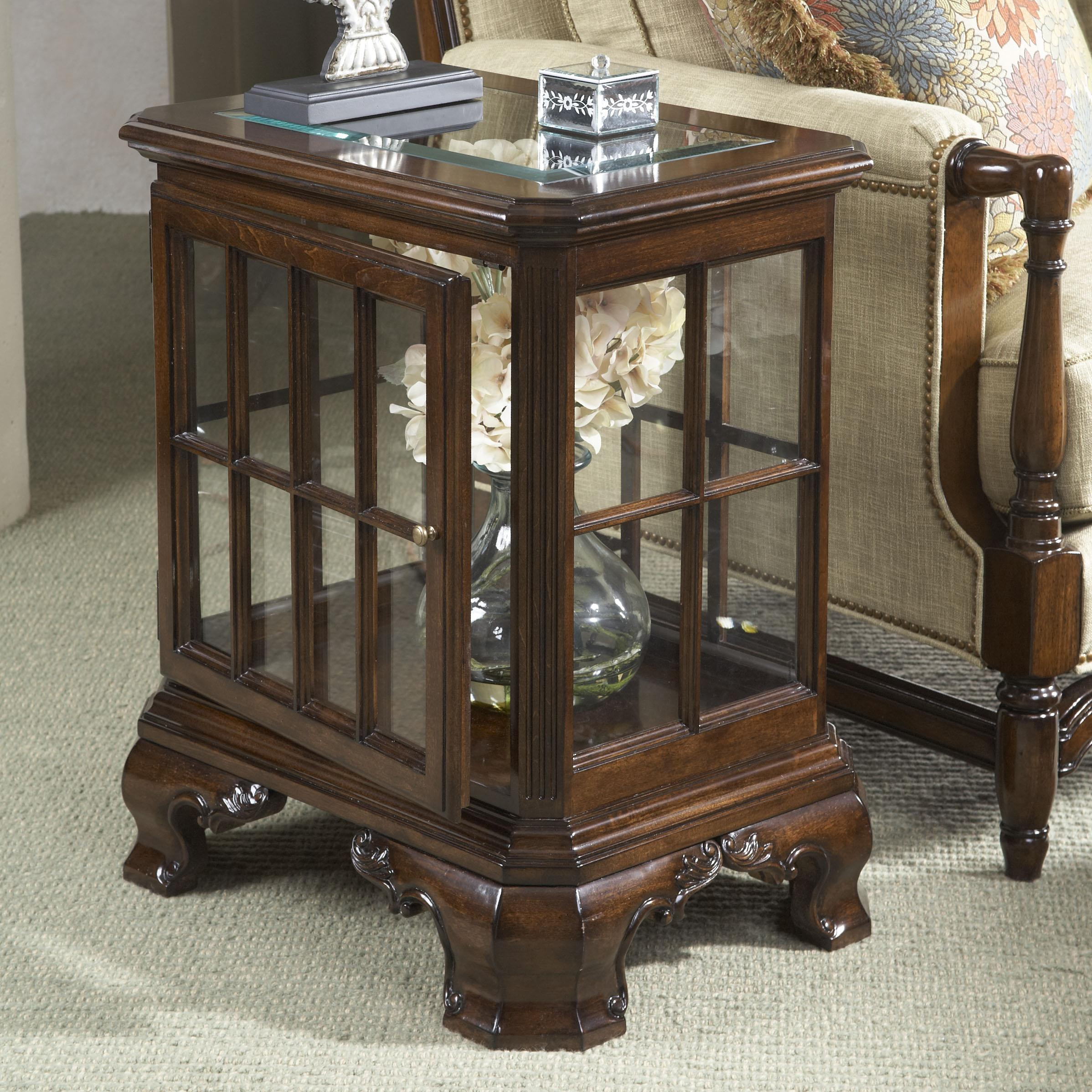 belfort signature belmont manchester curio table with glass top and products fine furniture design color american cherry wood end tables media storage extra long entryway one