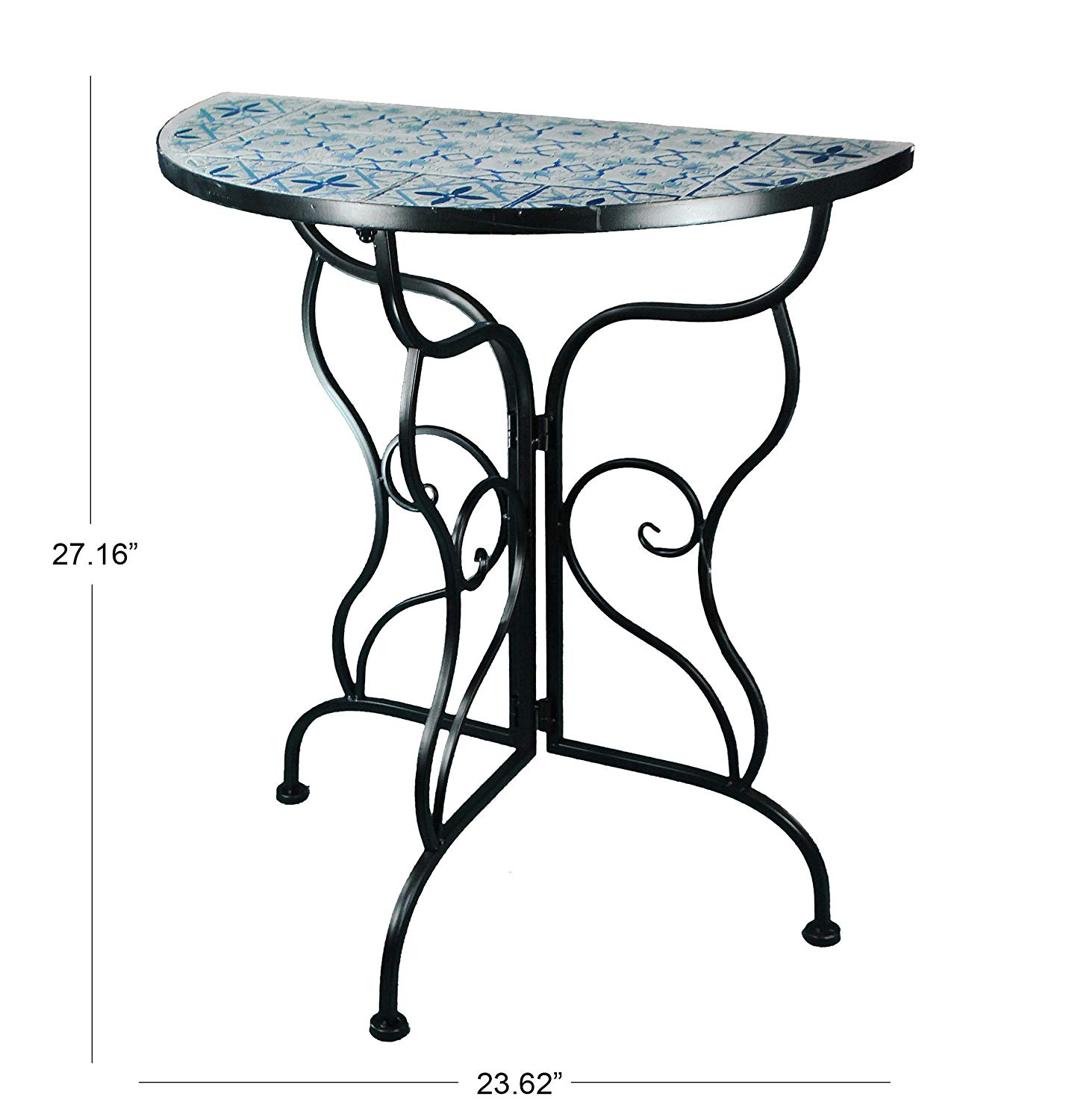 benzara deco console hummingbird round glass metal outdoor end table indoor garden patio accent mosaic side tables lazy boy furniture regina pallet dog tutorial farm design