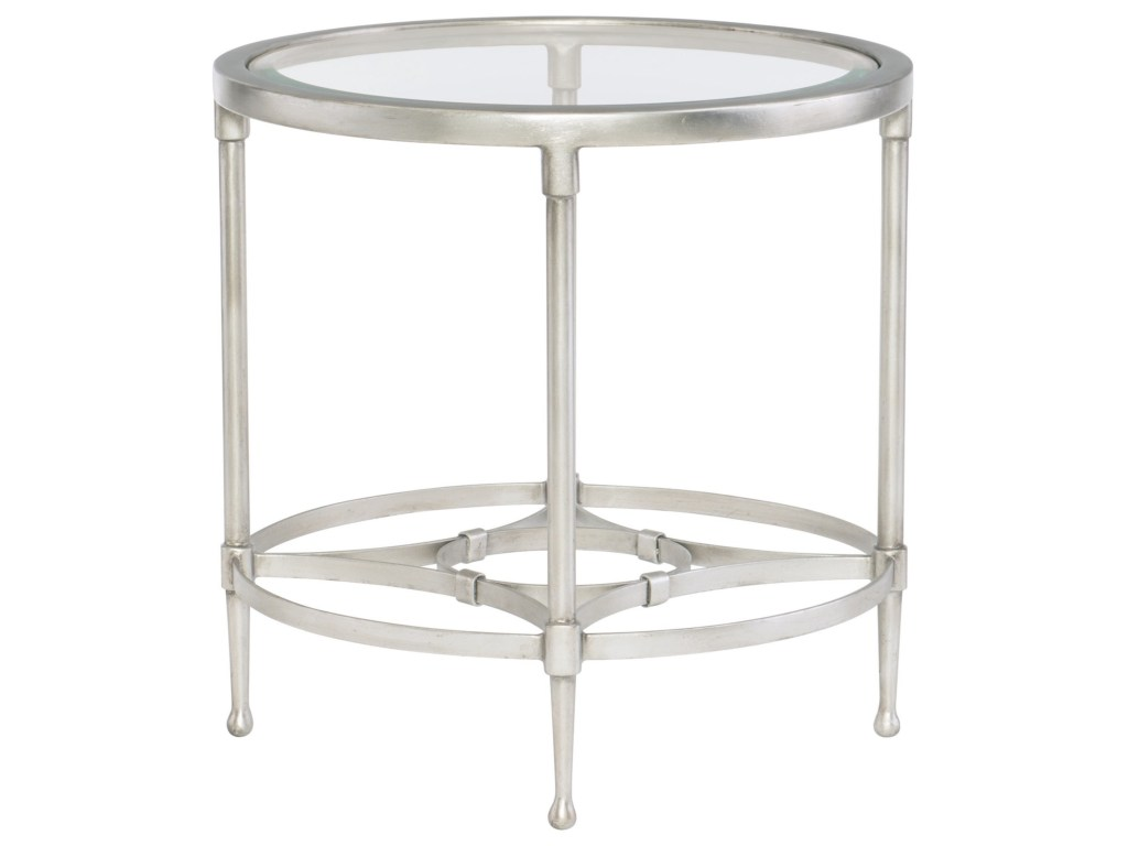 bernhardt cordelia contemporary round metal end table with glass top products color tables fire pit chairs rattan wicker side white parsons coffee ethan allen mattress galvanized