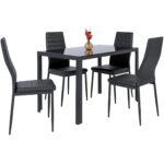 best choice products piece kitchen dining table set glass high end tabletop faux leather metal frame chairs for room dinette black powell kids furniture overstuffed sofa rustic 150x150