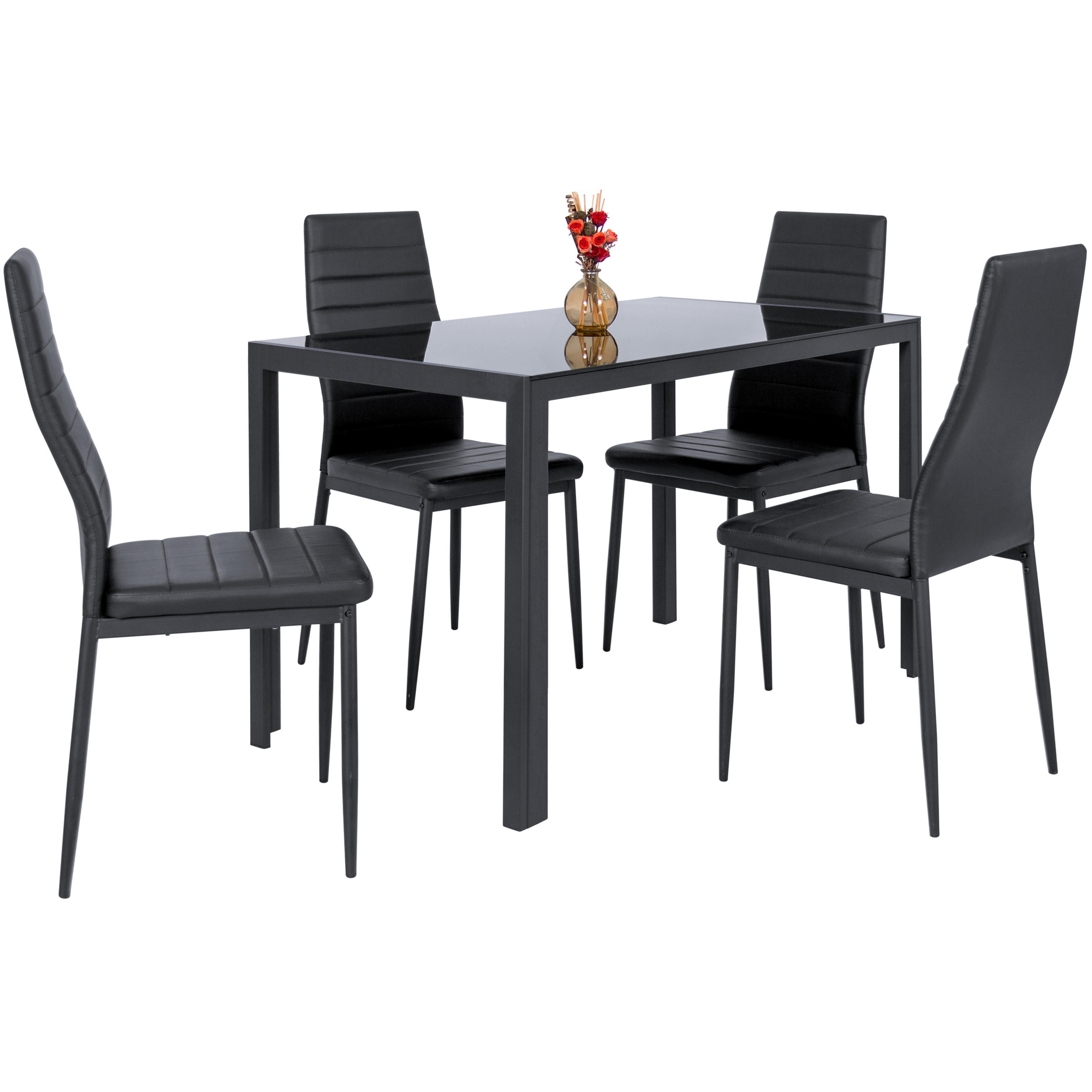 best choice products piece kitchen dining table set glass high end tabletop faux leather metal frame chairs for room dinette black powell kids furniture overstuffed sofa rustic