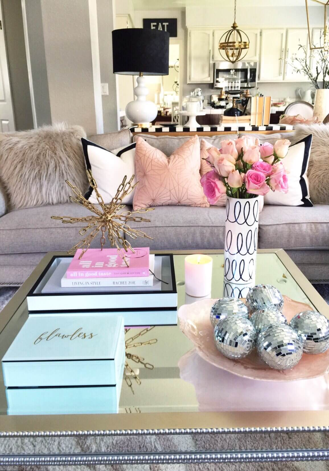 best coffee table decorating ideas and designs for homebnc living room end decor glamorous mirrored with metallic accent art under leather couch log drawers arhaus furniture