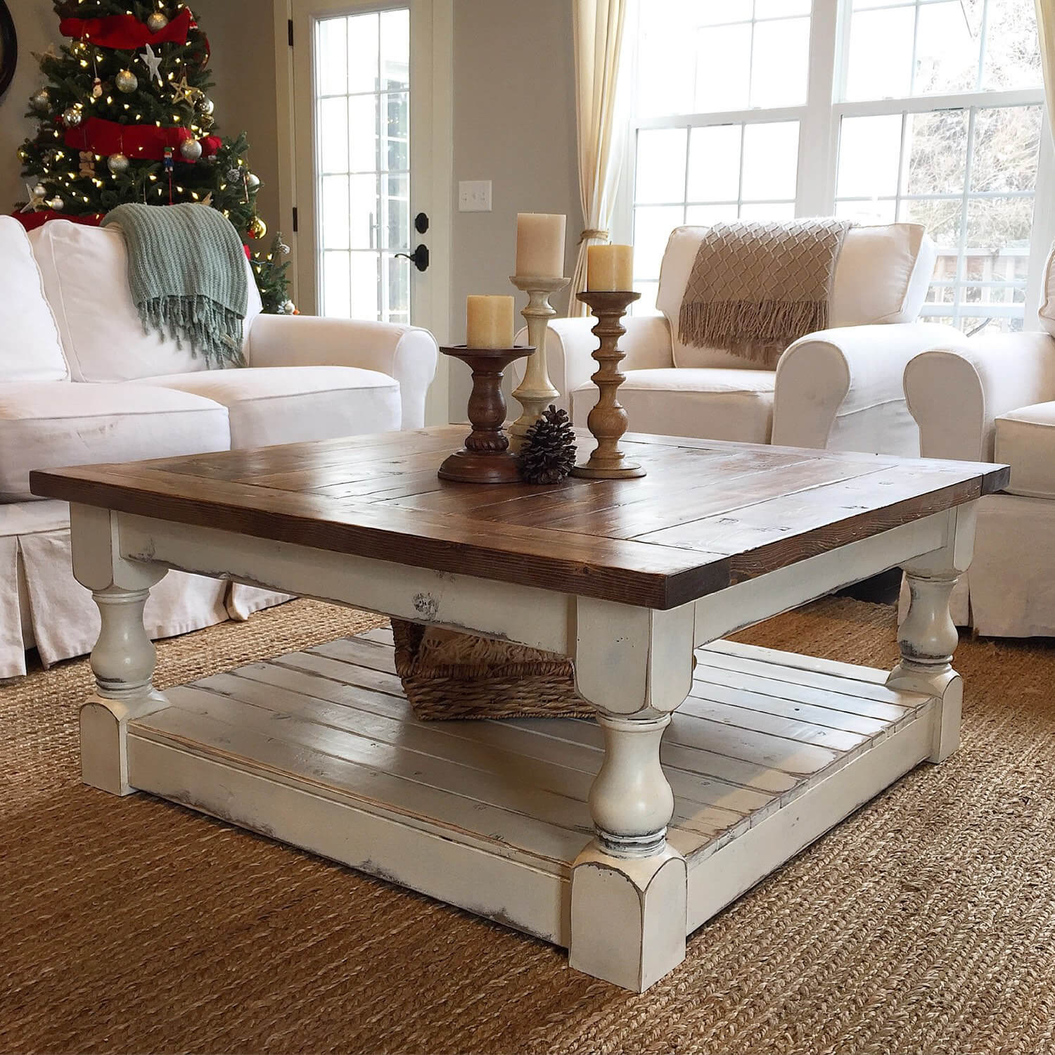 best coffee table decorating ideas and designs for homebnc square end elegant solid wood topped with turned candlesticks farmhouse tables paint distressed look mfg furniture green