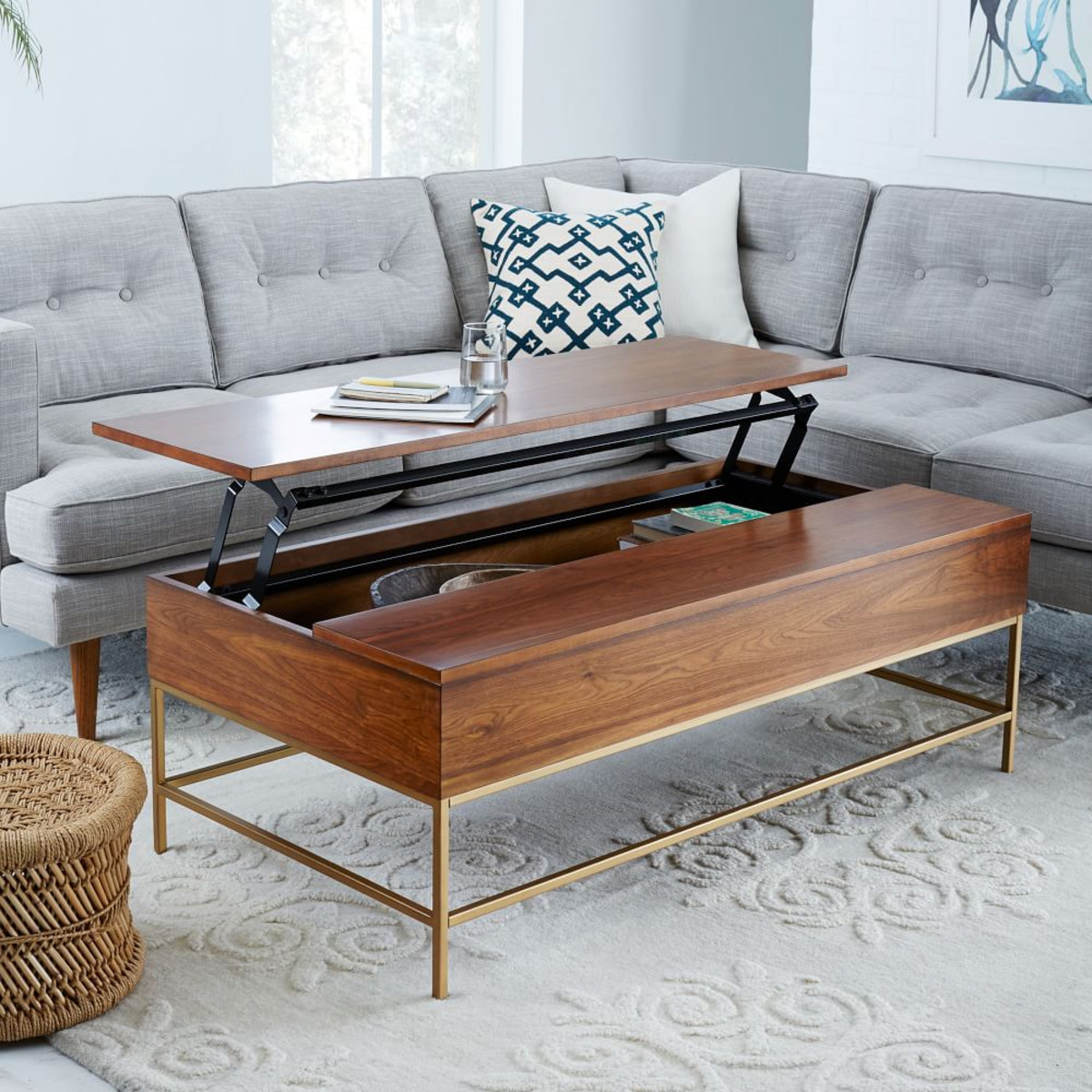 best coffee tables for small spaces west elm storage table walnut antique brass end space saving your living room iron with glass top nesting clearance clover saarinen grey walls
