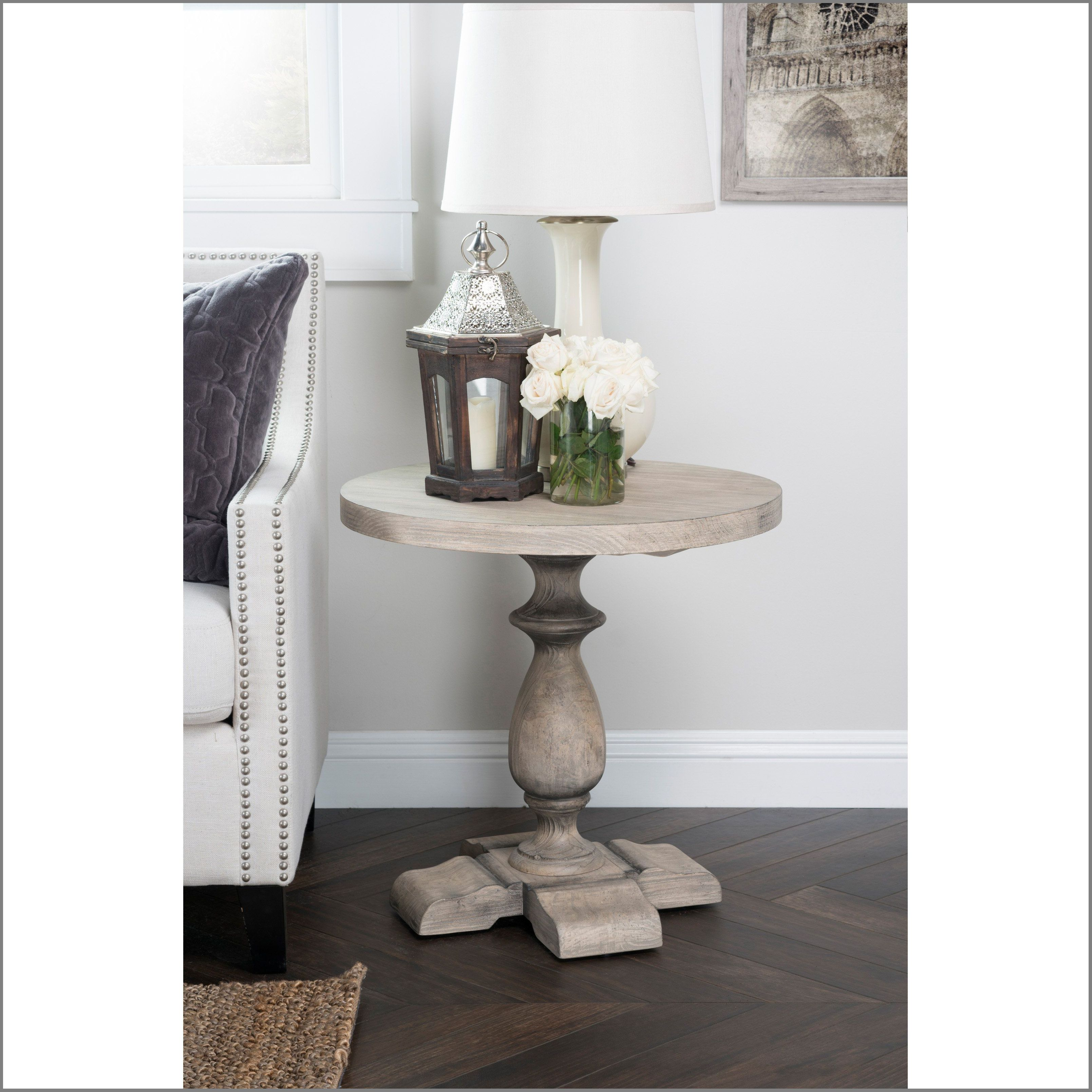best home rustic westminster warm grey round end table from side decor ideas decorating glass silver coffee small white pedestal ashley furniture bench hours under wood metal set