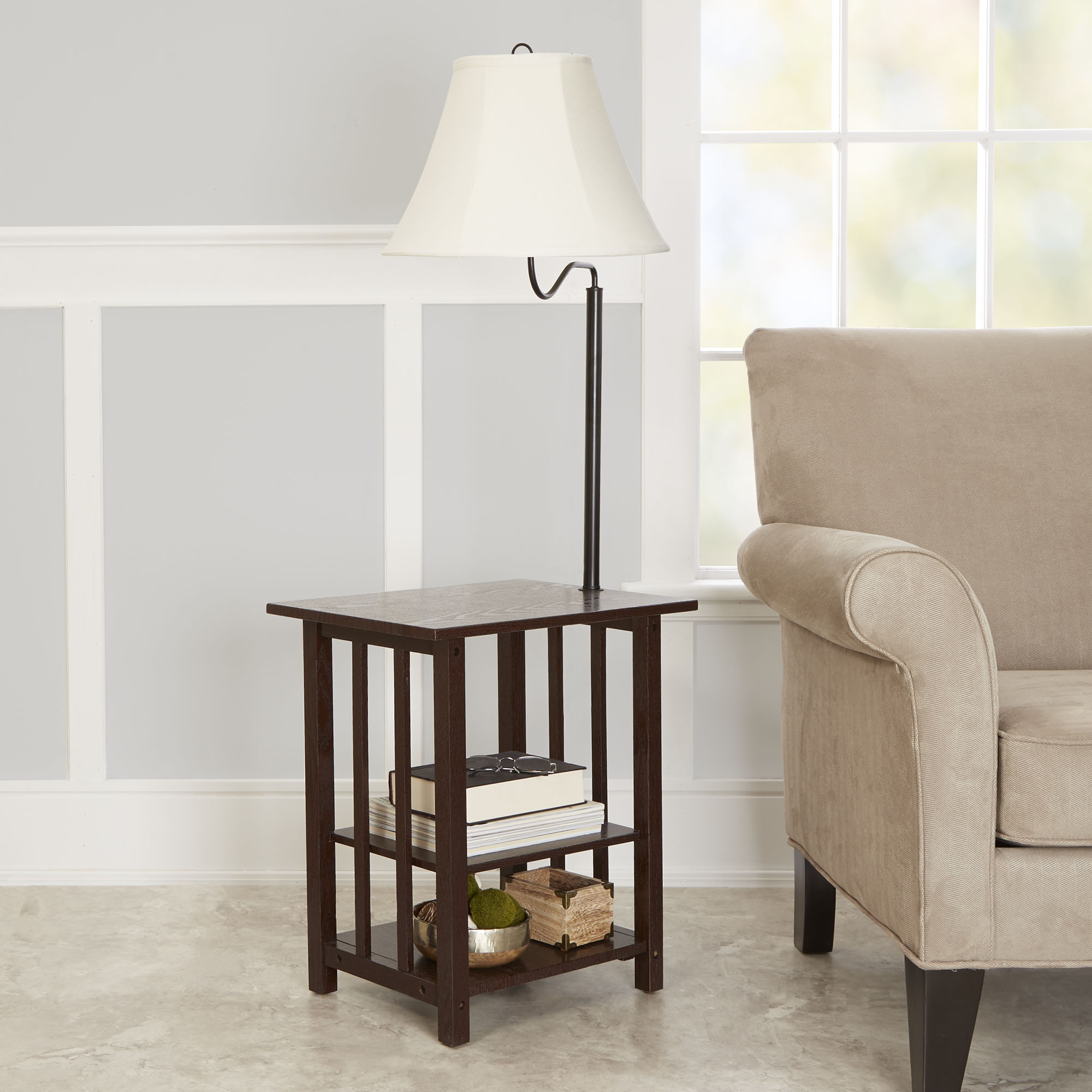 better homes gardens rack end table floor lamp espresso finish living room tables and lamps stanley furniture chairs average coffee measurements affordable rustic modern glass top