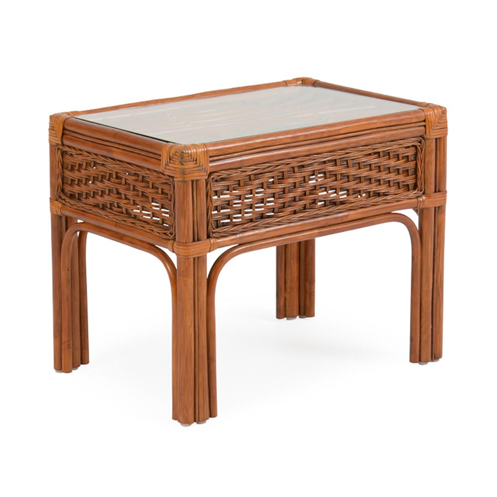 biscayne rattan end table tempered glass top watermark living tables with light wood coffee sets rugs brown leather sofa antique side marble small folding kmart cute dog kennel
